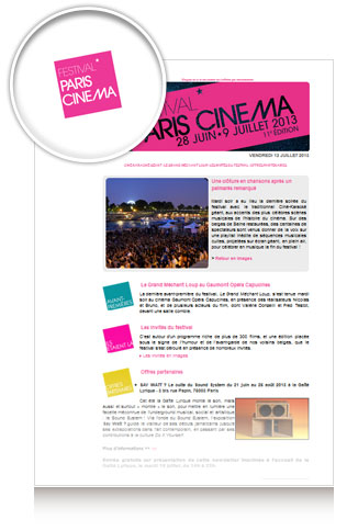 Newsletter FestivalParisCinema